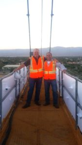 Jody & Dan Poulton a top the IWTG Tower Crane