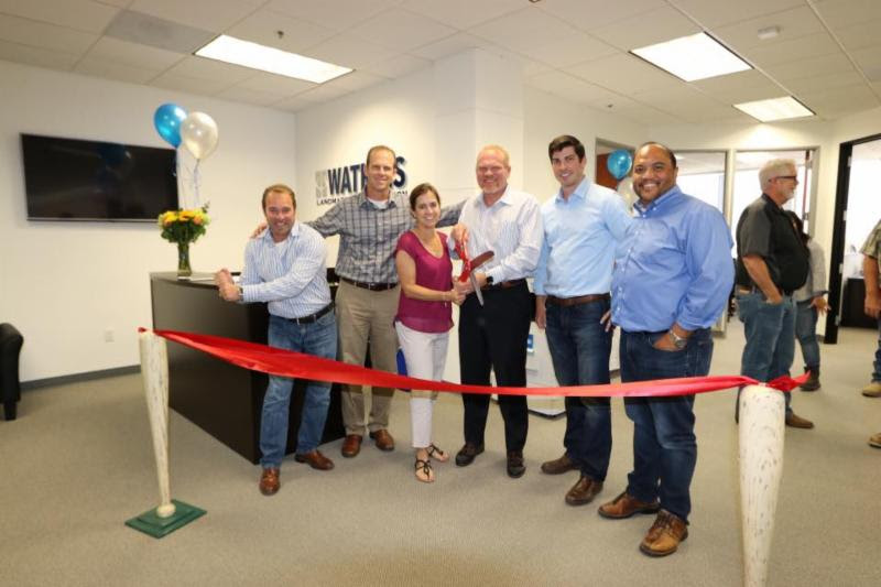 WLC -Orange County Office Ribbon Cutting Ceremony. Left to Right: Dan Poulton, Dean Schumacher, Jennifer Watkins, Jody James Watkins, Christian Ryan and Dennis Dizon
